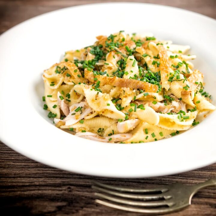 Square image of sage and onion chicken pasta served in a white shallow bowl