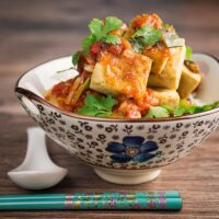 Golden Brown Fried Crispy Tofu With Tomato Sauce