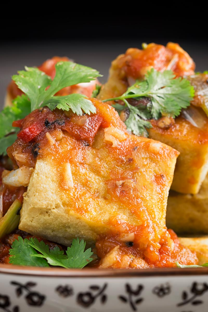 Portrait close up image of fried tofu cubes with a spicy tomato sauce