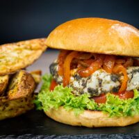 Halloumi Burger with Harissa Onions