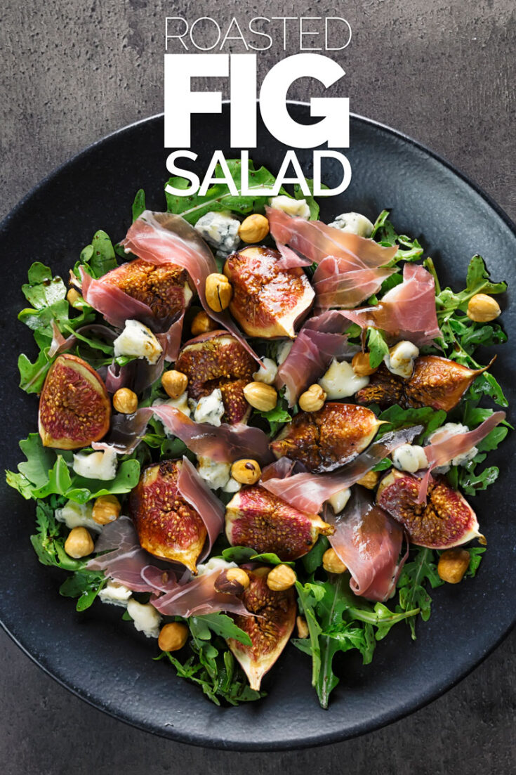 The fig season is perilously short, here we roast figs with Balsamic vinegar and honey and combine them with acidic blue cheese and salty ham to create the perfect light main course salad. #figsaladrecipe #figandhamsalad #maincoursesalads #saladideas #bluecheeseandfigsaladrecipe