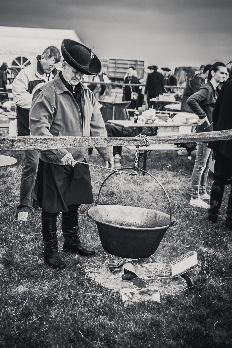 Traditional Hungarian cooking in a Cauldron or Kettle over and open fire at a food festival
