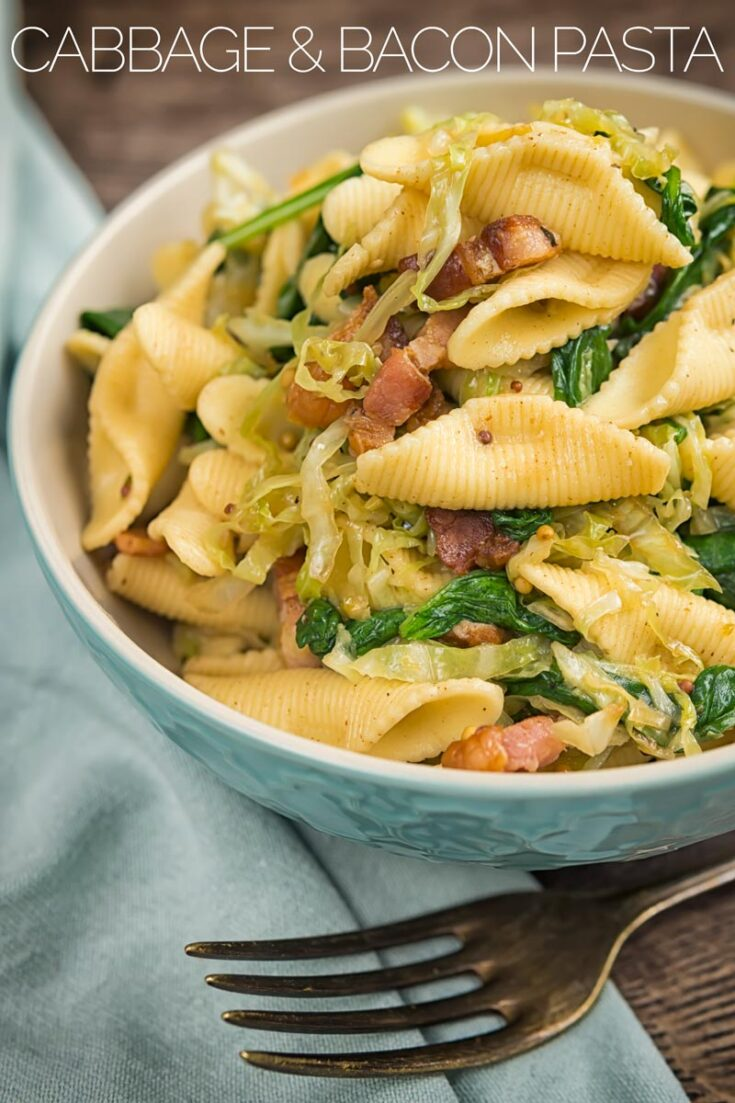 This bacon & cabbage pasta recipe may sound a little unusual but it tastes wonderful. Ready in under 30 minutes this make a perfect yet easy weeknight meal. #easypastarecipe #quickpastarecipe #30minutemeals #pasta