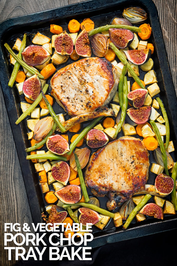 This simple pork chop tray bake is the perfect late Summer, early autumn dinner with lots of roasted root vegetables, fresh figs and a slurp of balsamic vinegar. #porkrecipe #savorytraybake #weeknightmeals #porkchops