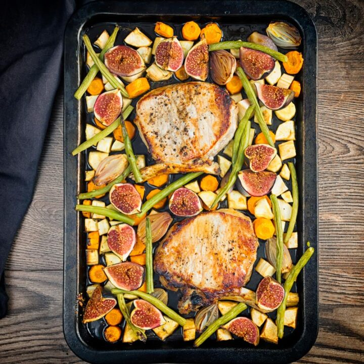 Fig & Vegetable Pork Chop Tray Bake Recipe