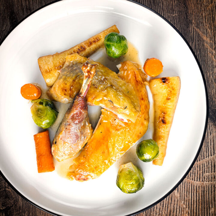 Roast Guinea Fowl with Honeyed Vegetables