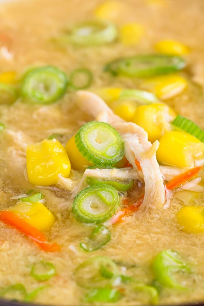 Portrait close up image of a Chinese chicken and sweetcorn soup