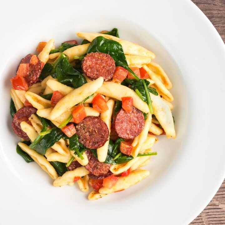 Recipe for Spinach, Tomato and Chorizo Pasta