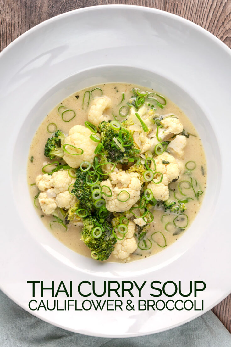 Hot, Sour, Sweet and Salty, this vegetable Thai Curry soup features cauliflower and broccoli and comes together in just 30 minutes!
