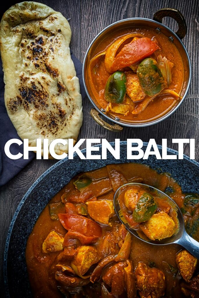 Portrait overhead image of a chicken balti curry in a copper coloured curry bowl served with a naan bread with text overlay