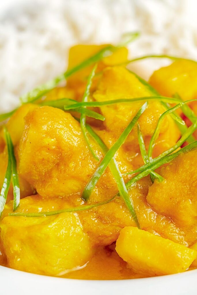 Close up portrait image of a chicken and pineapple curry in a thick sauce with a chiffonade of green chilli