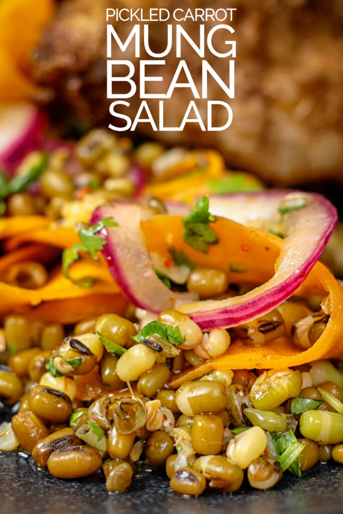 Portrait close up image of a carrot and mung bean salad with pickled carrot ribbons and red onions on a black plate with text overlay