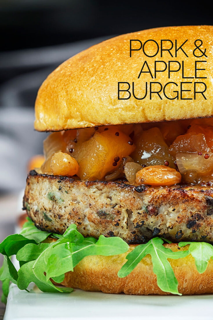 These pork and apple burgers are loaded with thyme & sage and demonstrate that beef ain't the only burger with game! with only 15 minutes of prep this is a weeknight winner anytime! #porkburgerrecipes #burgers #bestporkburger #easyporkburger