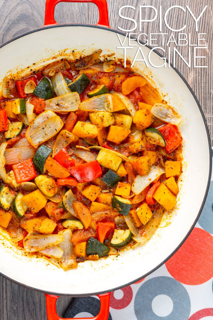 This easy vegetarian vegetable tagine gets a whack of spice from harissa paste and a touch of sweetness from honey and dried apricots.
