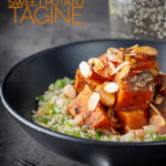 Portrait image of a vegetarian sweet potato tagine garnished with flaked almonds and zaatar on a bed of couscous with text overlay