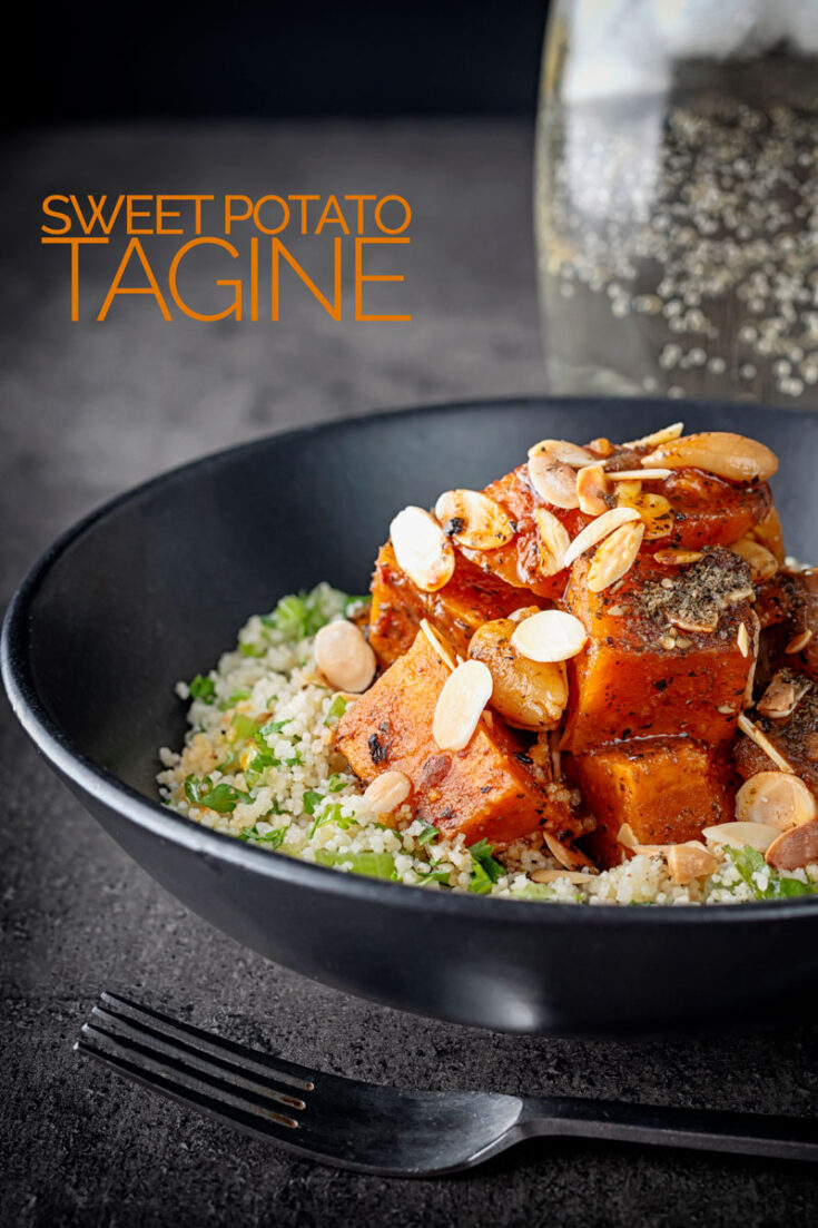 This sweet potato tagine recipe gets a supporting hand from almonds, dates, sumac dried mint and harissa for a real flavour sensation! #vegetariantagine #tagine #veggiemeals #northafricanfood