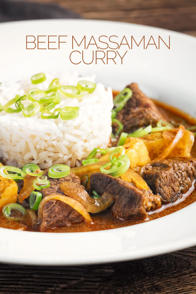 Portrait close up image of a Thai beef massaman curry served with jasmine rice in a white bowl with text overlay