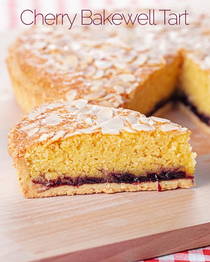 Portrait image of a slice of Bakewell tart with the whole tart in the background with text overlay