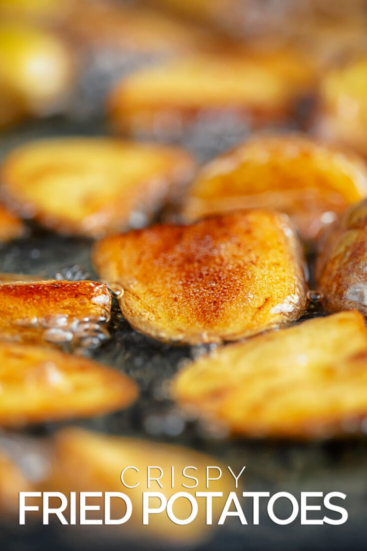 These crispy fried potatoes are a fantastic potato side dish, creamy on the inside crispy on the outside and as salty as you like!