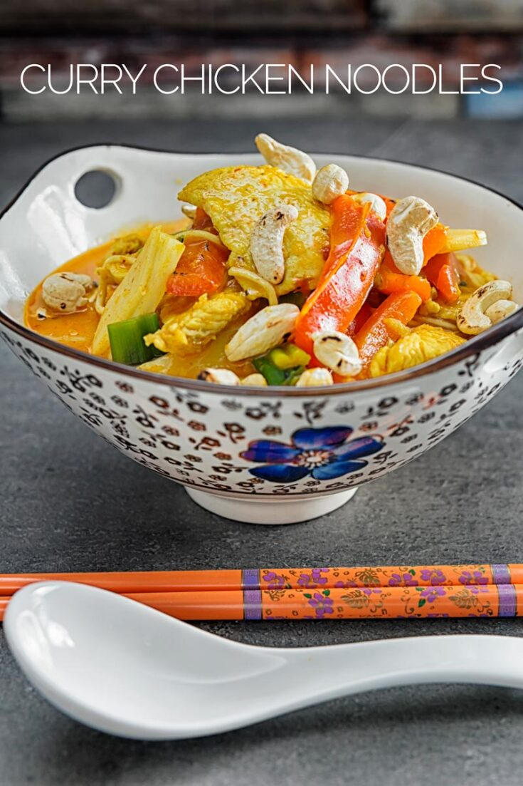 These Chicken Curry Noodles are comforting, super simple and quick to rustle up from store cupboard ingredients! Using Chicken breasts, Thai curry sauce and coconut milk to mellow the spice perfect for any week night dinner. #simpledinnerrecipes #fastfoodrecieps #thaicurry #chickenrecipes #chickennoodlesoup #storecupboardrecipes #takeawayfoodrecipes #dinnersfortwo