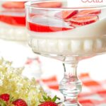 Portrait image of two yoghurt panna cotta served in class bowls with strawberry coulis and strawberry slices with text overlay