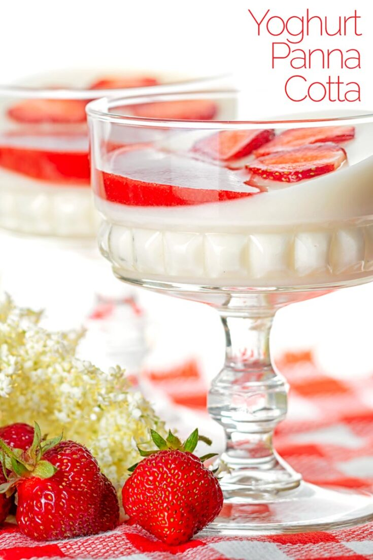 This elderflower yoghurt panna cotta with strawberry coulis recipe really is the very essence of summer in a dessert!