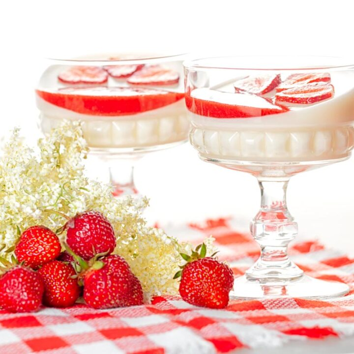 Square image of two yoghurt panna cotta served in class bowls with strawberry coulis and strawberry slices