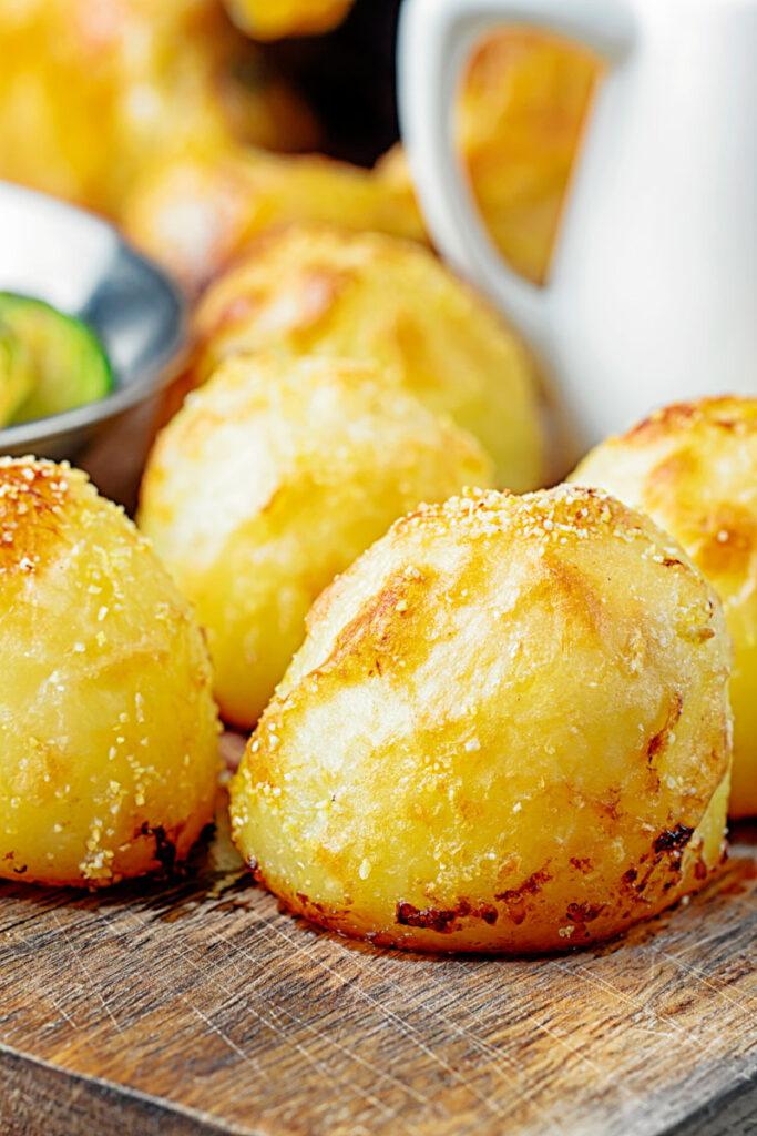 Portrait image of crispy roast potatoes