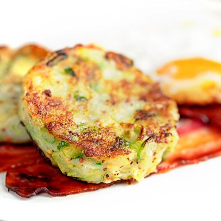 Square image of traditional British bubble and squeak potato cakes