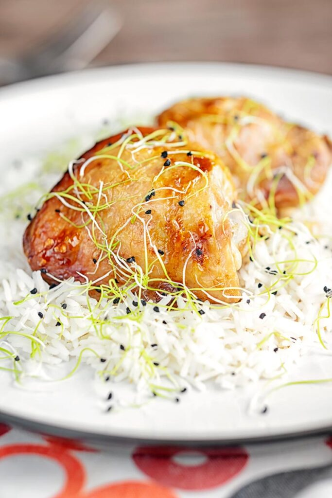 Portrait image of chicken adobo made with chicken thighs served on jasmine rice served with sprouted onion seeds