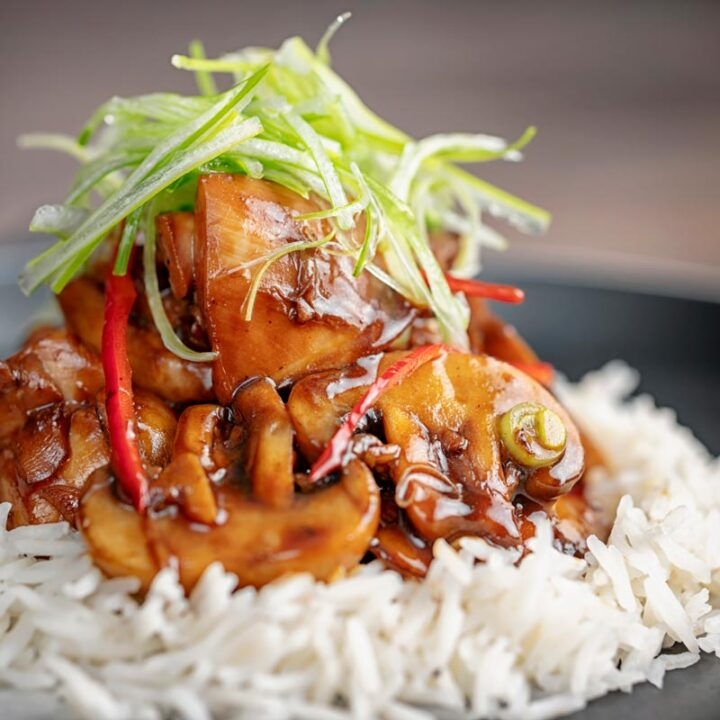 Square image of a Chinese chicken and mushroom stir fry served ona black plate with shredded spring onion and white rice