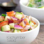 Portrait image of an Indian kachumber side salad served in a white bowl with text overlay
