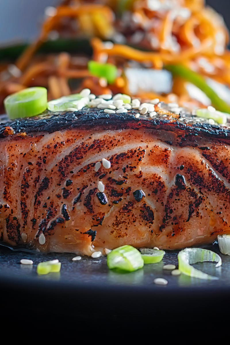 Portrait close up image of grilled korean salmon fillet