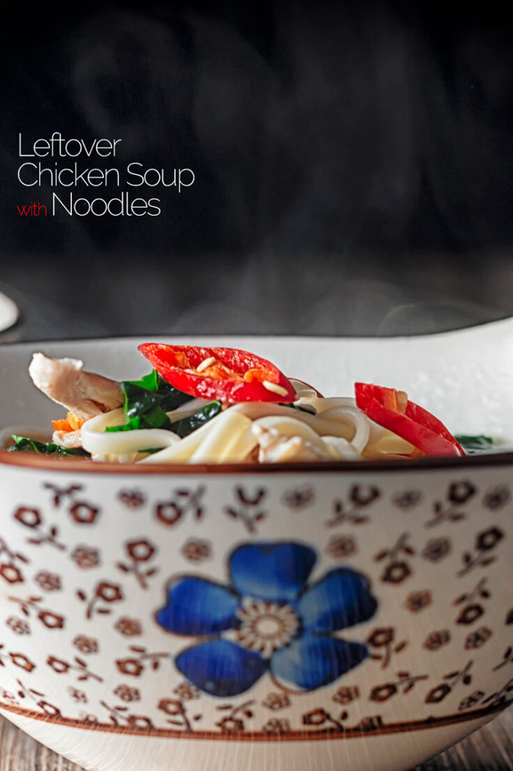 Leftover chicken can be used in so many ways and this Asian style Noodle soup is quick, simple and delicious!