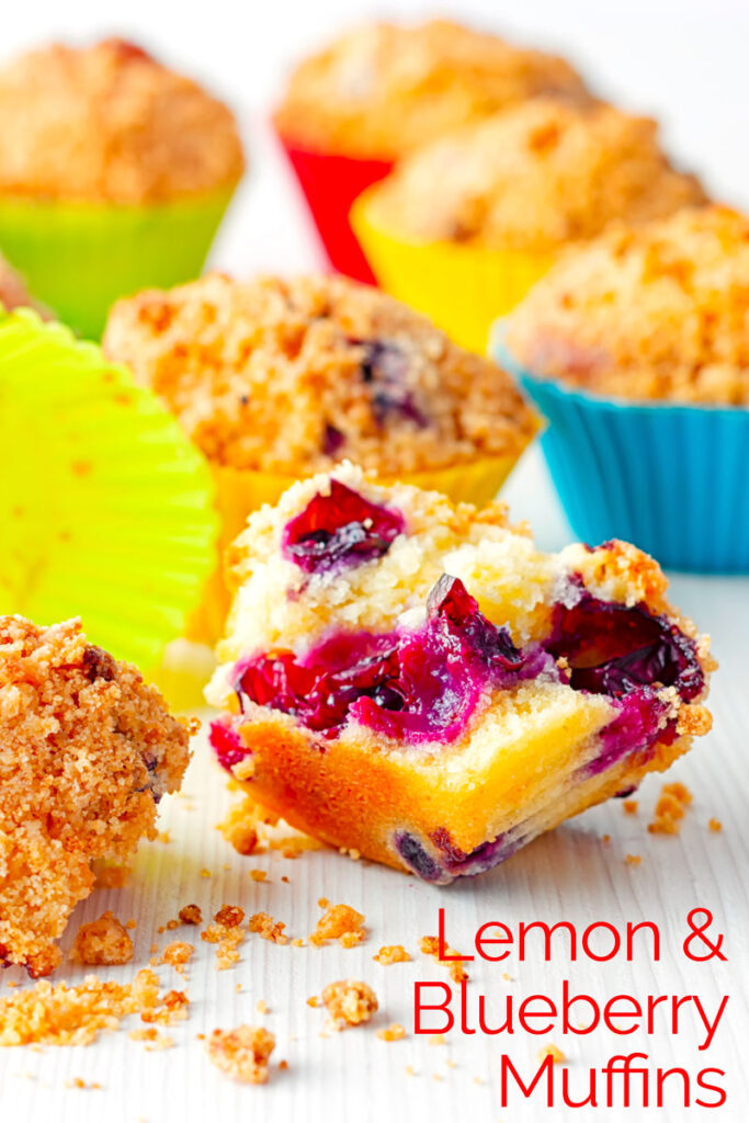 Portrait image of lemon and blueberry muffins in colourful silicon muffin cases on a white backdrop with one muffin broken upen showing inside texture with text overlay