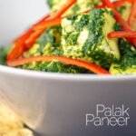 """Landscape close up image of a classic Indian Palak Paneer spinach and """"cottage"""" cheese curry with text overlay"""