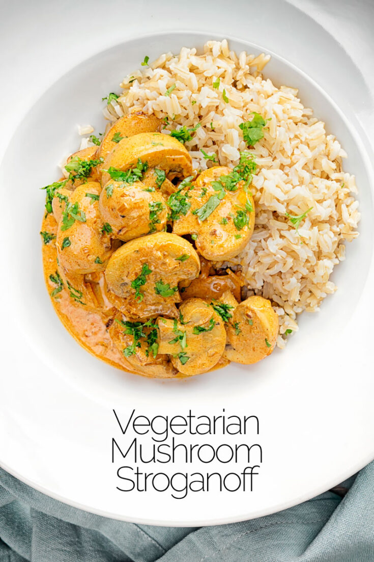 This wonderful vegetarian stroganoff features a silky sour cream sauce loaded with sweet paprika & dijon mustard & it is all done in just 25 minutes.