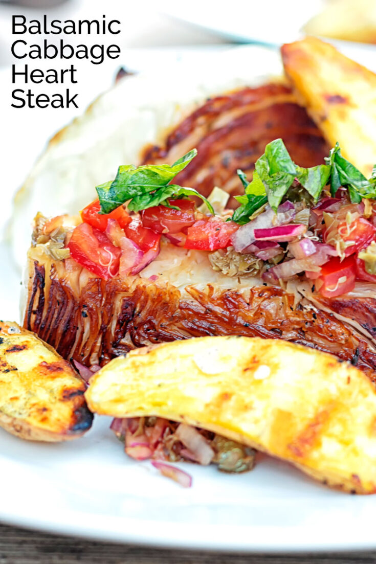 Roasted or grilled, this heart of cabbage steak is a great side or vegetarian main course from the bit of the cabbage that is usually waste.