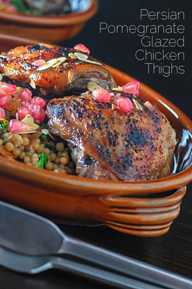 These pomegranate chicken thighs make for a truly delightful, exotic but simple meal all thanks to the majesty of the mighty pomegranate. We use both Pomegranate molasses and pomegranate seeds and serve with a simple couscous salad. #pomegranatesaladrecipes #chickenthightsrecipes #chickencouscoussalad