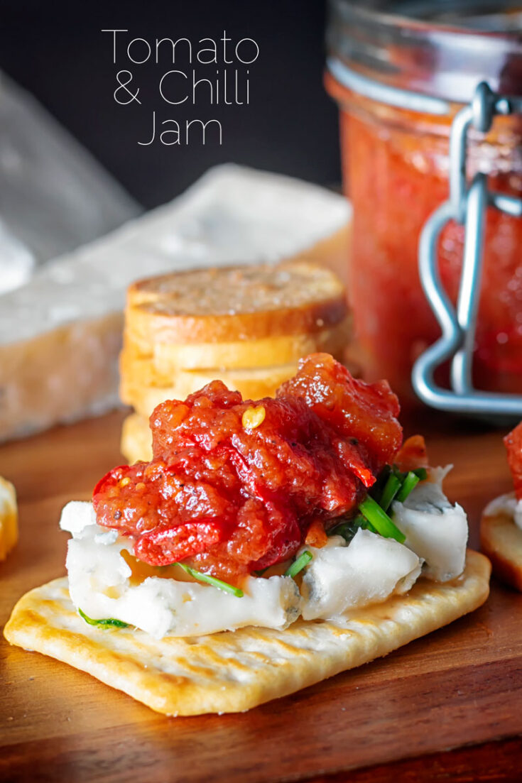 This tomato and Chilli Jam is so versatile, everything from a topping to Crostini through to a glaze for pork or chicken.