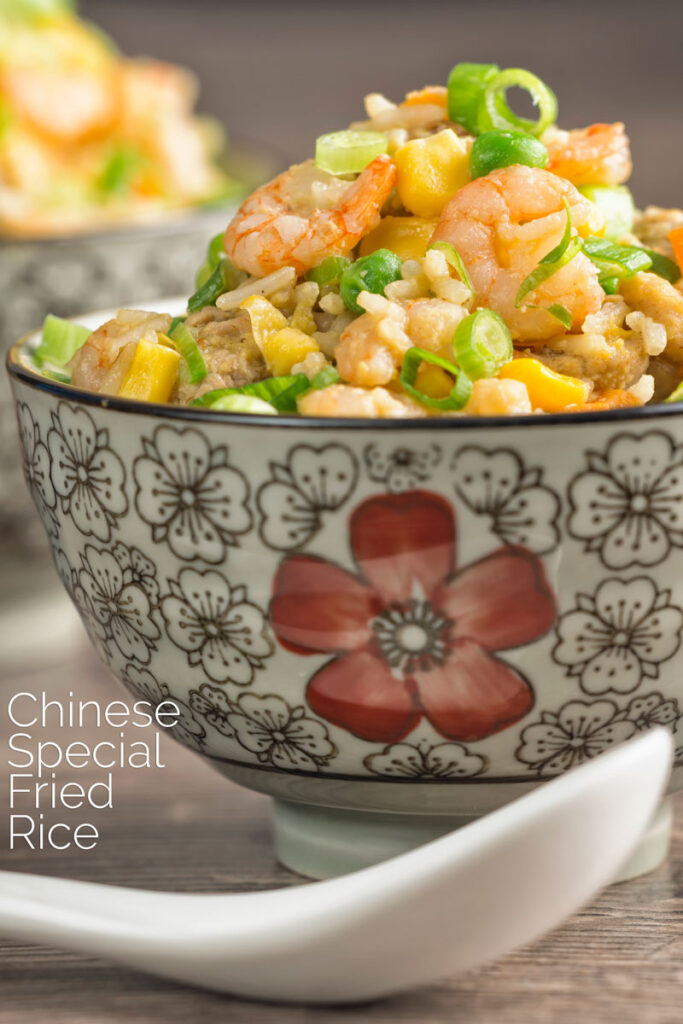 Portrait image of Chinese Special Fried rice served in bowls decorated with an Asian stylised design with a text overlay