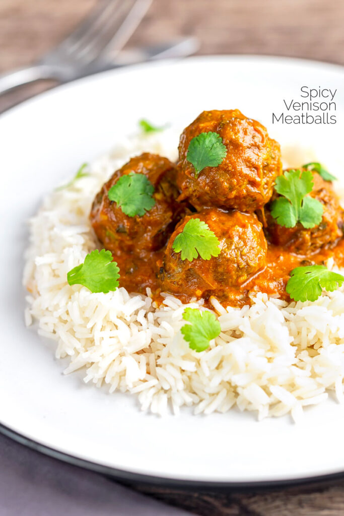 Portrait image of spicy venison meatballs served with basmati rice and coriander leaves with text overlay