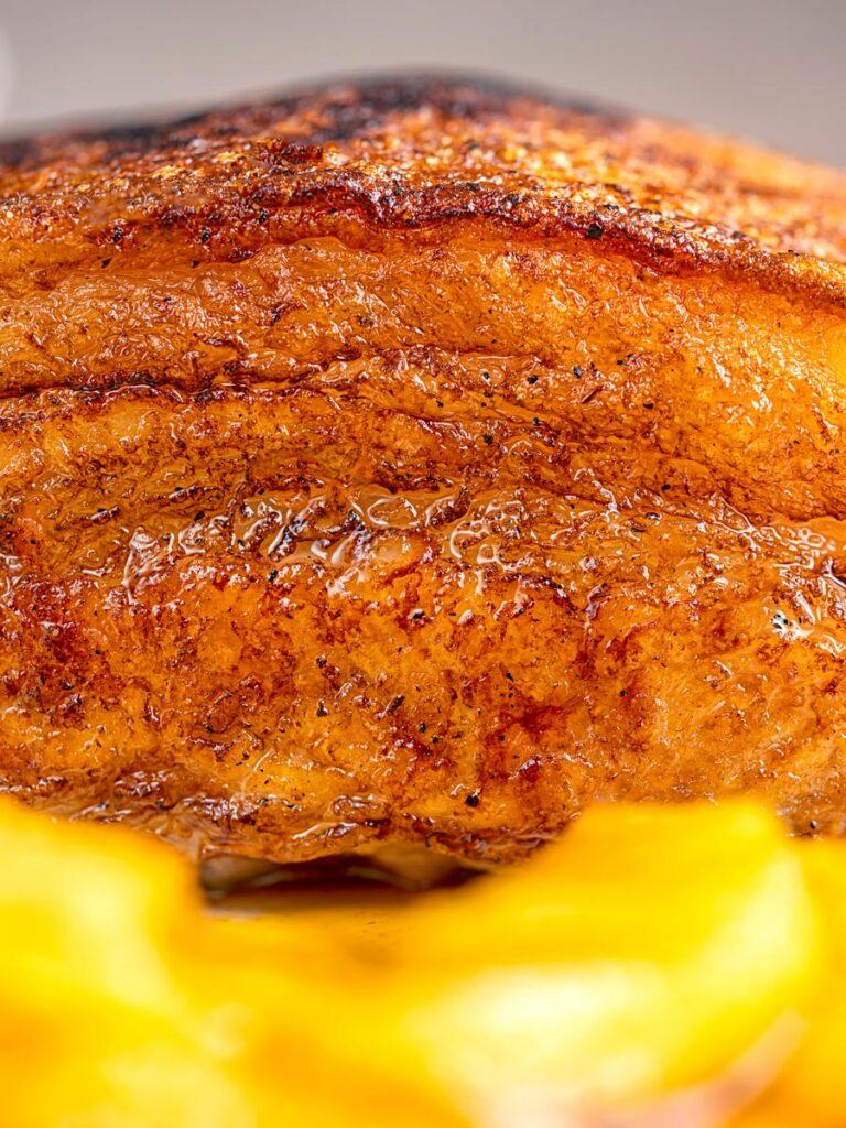 Portrait close up image of crispy Pork Belly