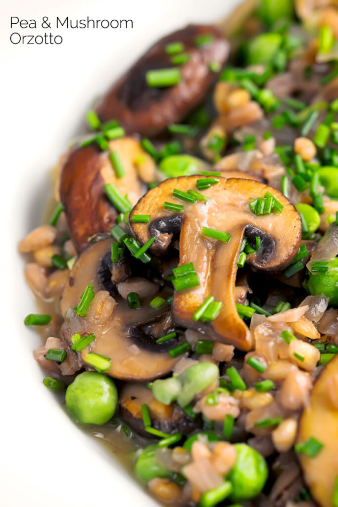 Portrait close up image of a Pea and Mushroom orzotto made with pearl barley with text overlay