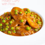 Portrait image of a pea and potato curry or aloo matar served in a white bowl with text overlay