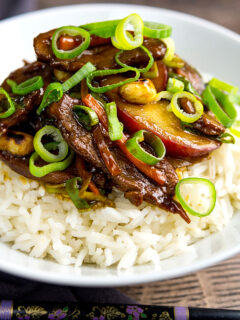Portrait image of Chinese duck and plums served on white rice