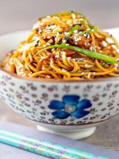 Portrait image of a chicken noodle stir fry, lo mein or chow mein served in a bowl with an Asian floral design
