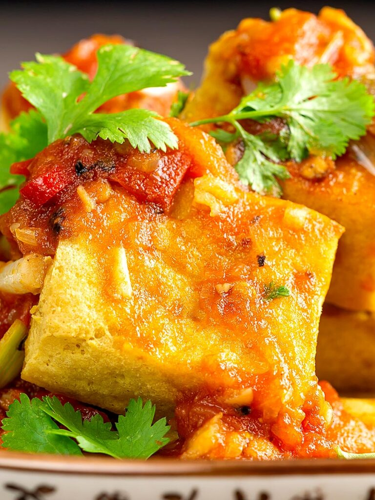Portrait close up image of a cube of crispy fried tofu with a Vietnamese tomato sauce and coriander leaves