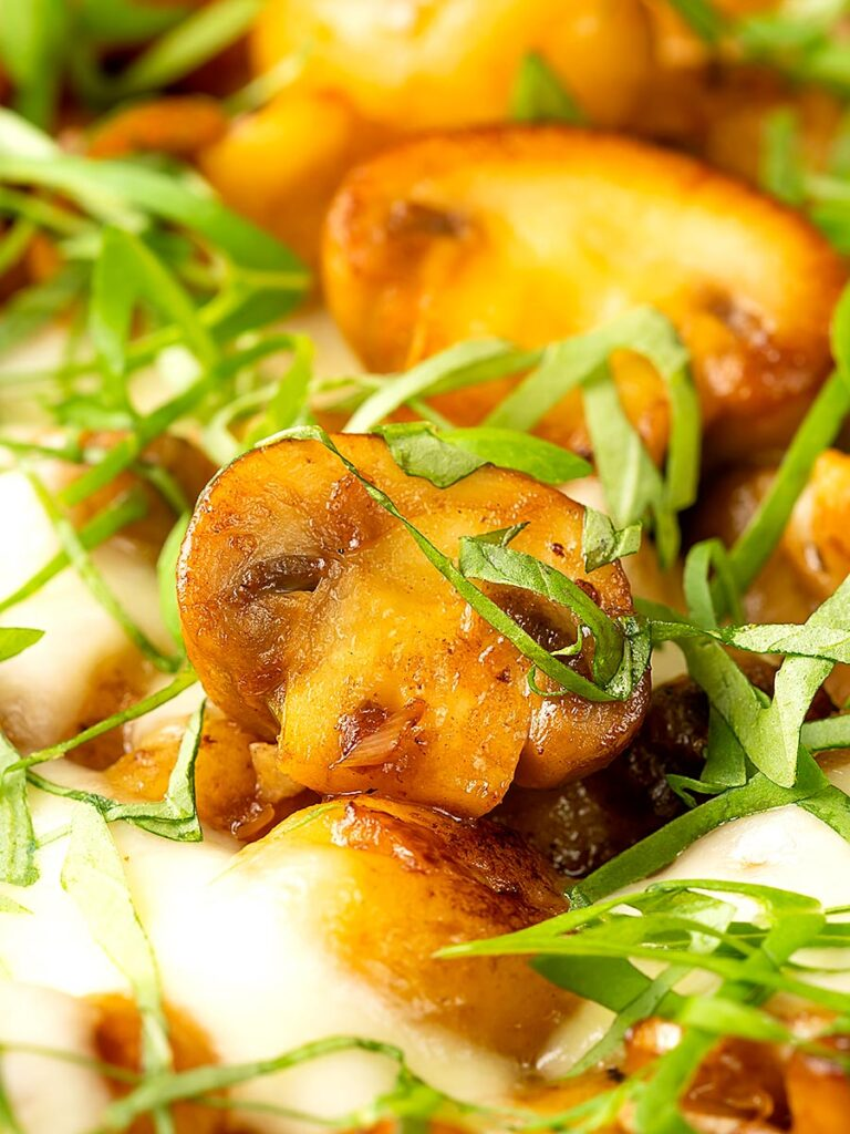Portrait close up image of baked gnocchi with mushrooms in balsamic vinegar, mozzarella cheese and fresh basil