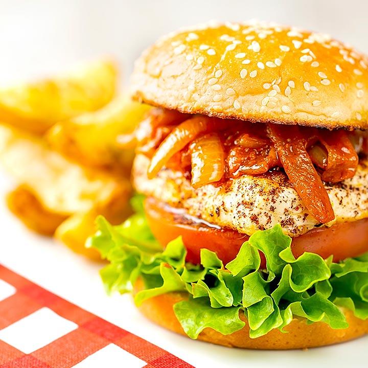 Halloumi Burger Recipe with Harissa Onions